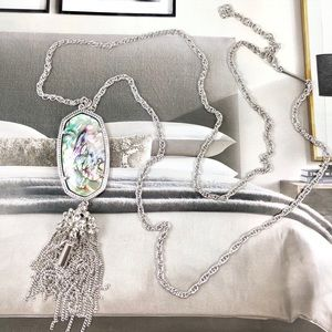 Kendra Scott Rayne abalone silver necklace